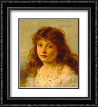 Young Girl 20x22 Black or Gold Ornate Framed and Double Matted Art Print by Sophie Gengembre Anderson