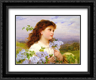 The Time of the Lilacs 24x20 Black or Gold Ornate Framed and Double Matted Art Print by Sophie Gengembre Anderson