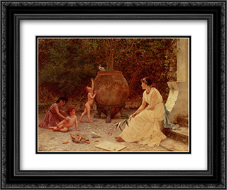 When The Heart Is Young 24x20 Black or Gold Ornate Framed and Double Matted Art Print by Sophie Gengembre Anderson
