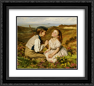 Its Touch and Go to Laugh or No 22x20 Black or Gold Ornate Framed and Double Matted Art Print by Sophie Gengembre Anderson