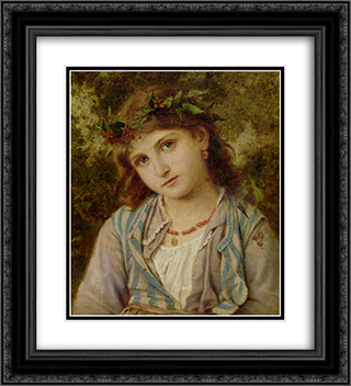 An Autumn Princess 20x22 Black or Gold Ornate Framed and Double Matted Art Print by Sophie Gengembre Anderson