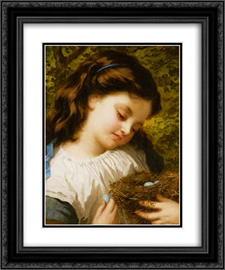 The Birds Nest 20x24 Black or Gold Ornate Framed and Double Matted Art Print by Sophie Gengembre Anderson
