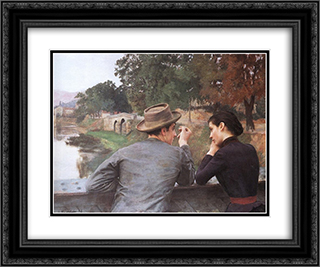 Les Amoureux (Soir d'automne) 24x20 Black or Gold Ornate Framed and Double Matted Art Print by Emile Friant