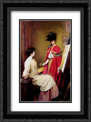 Studio Visit 18x24 Black or Gold Ornate Framed and Double Matted Art Print by Emile Friant