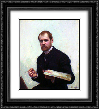 Self'Portrait 20x22 Black or Gold Ornate Framed and Double Matted Art Print by Emile Friant