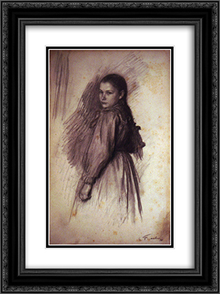Young Girl 18x24 Black or Gold Ornate Framed and Double Matted Art Print by Emile Friant