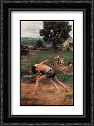 La Lutte 18x24 Black or Gold Ornate Framed and Double Matted Art Print by Emile Friant