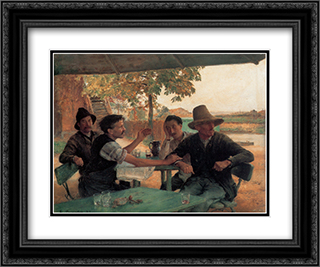 La Discussion politique 24x20 Black or Gold Ornate Framed and Double Matted Art Print by Emile Friant