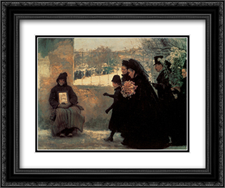 La Toussaint 24x20 Black or Gold Ornate Framed and Double Matted Art Print by Emile Friant