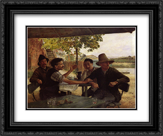 Discussion Politique 24x20 Black or Gold Ornate Framed and Double Matted Art Print by Emile Friant