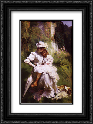Tendresse Maternelle 18x24 Black or Gold Ornate Framed and Double Matted Art Print by Emile Friant