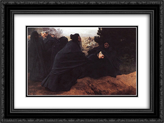 Doleur 24x18 Black or Gold Ornate Framed and Double Matted Art Print by Emile Friant