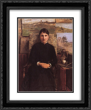 Portrait de Mme Petitjean 20x24 Black or Gold Ornate Framed and Double Matted Art Print by Emile Friant