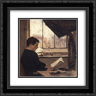 Autoportrait, dit Un etudiant 20x20 Black or Gold Ornate Framed and Double Matted Art Print by Emile Friant