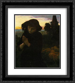 Angelus 20x22 Black or Gold Ornate Framed and Double Matted Art Print by Emile Friant