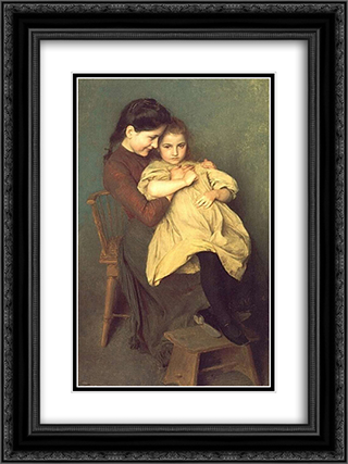 Chagrin d'Enfant 18x24 Black or Gold Ornate Framed and Double Matted Art Print by Emile Friant