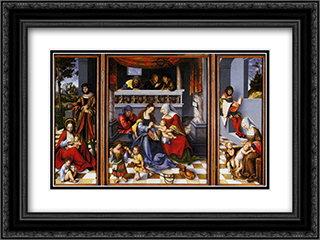 Altar Of The Holy Family (Torgau Altar) 24x18 Black or Gold Ornate Framed and Double Matted Art Print by Lucas Cranach the Elder