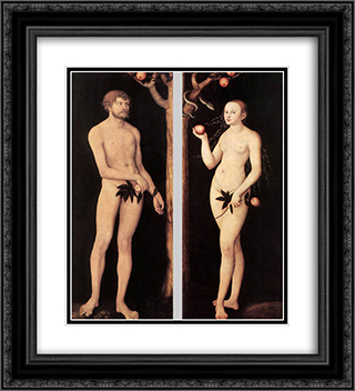 Adam and Eve 20x22 Black or Gold Ornate Framed and Double Matted Art Print by Lucas Cranach the Elder