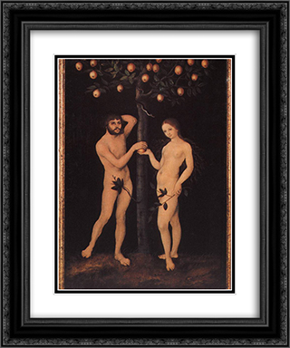 Adam and Eve 20x24 Black or Gold Ornate Framed and Double Matted Art Print by Lucas Cranach the Elder