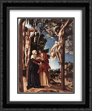 Crucifixion 20x24 Black or Gold Ornate Framed and Double Matted Art Print by Lucas Cranach the Elder