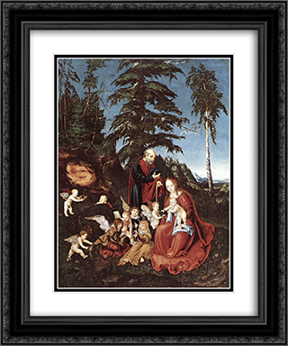 The Rest on the Flight into Egypt 20x24 Black or Gold Ornate Framed and Double Matted Art Print by Lucas Cranach the Elder