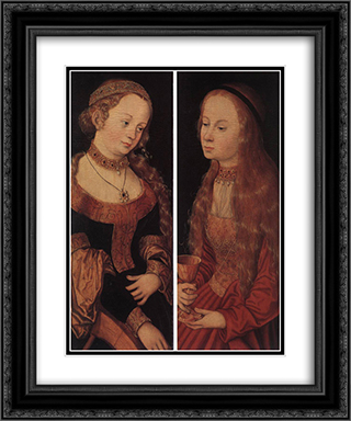St Catherine of Alexandria and St Barbara 20x24 Black or Gold Ornate Framed and Double Matted Art Print by Lucas Cranach the Elder