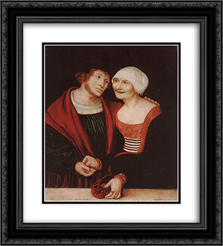 Amorous Old Woman and Young Man 20x22 Black or Gold Ornate Framed and Double Matted Art Print by Lucas Cranach the Elder