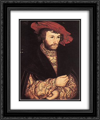 Portrait of a Young Man 20x24 Black or Gold Ornate Framed and Double Matted Art Print by Lucas Cranach the Elder