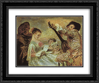 The Music Lesson 24x20 Black or Gold Ornate Framed and Double Matted Art Print by Antoine Watteau