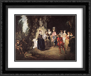 The French Comedy 24x20 Black or Gold Ornate Framed and Double Matted Art Print by Antoine Watteau