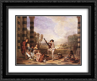 Les Charmes de la Vie 24x20 Black or Gold Ornate Framed and Double Matted Art Print by Antoine Watteau