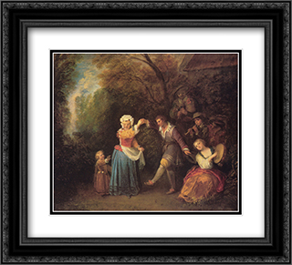 La Danse Champetre 22x20 Black or Gold Ornate Framed and Double Matted Art Print by Antoine Watteau