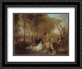 The Festival of Love 24x20 Black or Gold Ornate Framed and Double Matted Art Print by Antoine Watteau