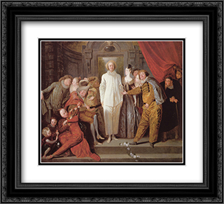 Les Comediens italiens 22x20 Black or Gold Ornate Framed and Double Matted Art Print by Antoine Watteau