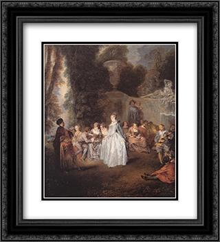 Les Fetes venitiennes 20x22 Black or Gold Ornate Framed and Double Matted Art Print by Antoine Watteau