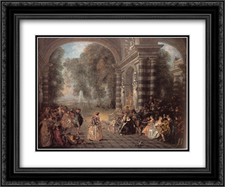 Les Plaisirs du bal 24x20 Black or Gold Ornate Framed and Double Matted Art Print by Antoine Watteau