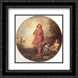 L'Orgueilleux 20x20 Black or Gold Ornate Framed and Double Matted Art Print by Antoine Watteau