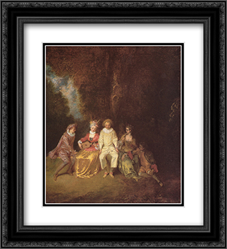 Pierrot content 20x22 Black or Gold Ornate Framed and Double Matted Art Print by Antoine Watteau