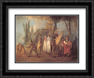 Qu'ay'je fait, assassins maudits 24x20 Black or Gold Ornate Framed and Double Matted Art Print by Antoine Watteau