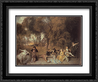 Reunion en plein air 24x20 Black or Gold Ornate Framed and Double Matted Art Print by Antoine Watteau