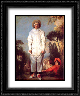 Pierrot 20x24 Black or Gold Ornate Framed and Double Matted Art Print by Antoine Watteau