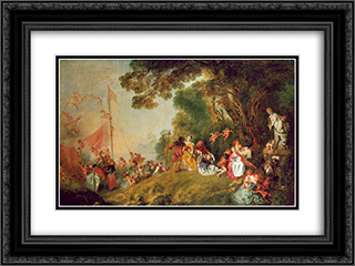 Pilgrimage to Cythera 24x18 Black or Gold Ornate Framed and Double Matted Art Print by Antoine Watteau