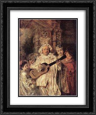 Gilles and his Family 20x24 Black or Gold Ornate Framed and Double Matted Art Print by Antoine Watteau