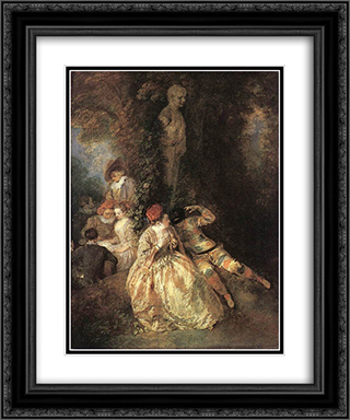 Harlequin and Columbine 20x24 Black or Gold Ornate Framed and Double Matted Art Print by Antoine Watteau