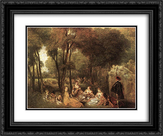 Les Champs Elysees 24x20 Black or Gold Ornate Framed and Double Matted Art Print by Antoine Watteau