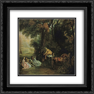 A halt during the chase 20x20 Black or Gold Ornate Framed and Double Matted Art Print by Antoine Watteau