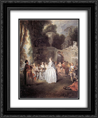 Fetes Venitiennes 20x24 Black or Gold Ornate Framed and Double Matted Art Print by Antoine Watteau