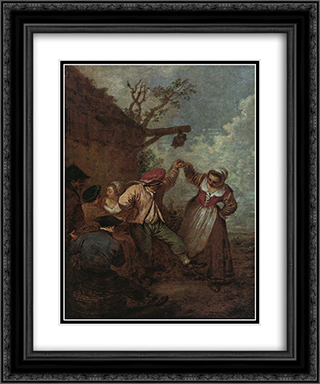 Peasant Dance 20x24 Black or Gold Ornate Framed and Double Matted Art Print by Antoine Watteau