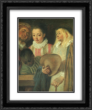 Actors from a French Theatre ' detail 20x24 Black or Gold Ornate Framed and Double Matted Art Print by Antoine Watteau