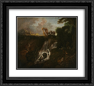 La Chute d'eau 22x20 Black or Gold Ornate Framed and Double Matted Art Print by Antoine Watteau